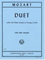 Duet - Wolfgang Amadeus Mozart - Partition - Violon - laflutedepan.com