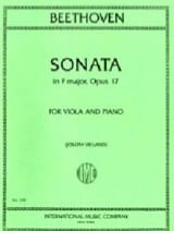 BEETHOVEN - Sonata in F major, op. 17 - Viola - Partition - di-arezzo.fr