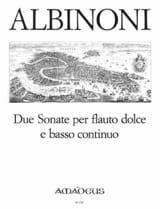 Tomaso Albinoni - 2 Sonaten - Altblockflöte Und Bc - Partition - di-arezzo.fr