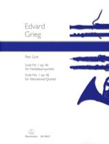 Peer Gynt Suite n° 1 op. 46 - Holzbläserquintett - Partitur + Stimmen laflutedepan.com