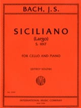 Siciliano Largo S.1017 BACH Partition Violoncelle - laflutedepan.com