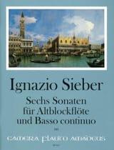Sechs Sonaten für Altblockflöte und BC Ignazio Sieber laflutedepan.com