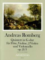Andreas J. Romberg - Quintette Opus 21 N°3 En Sol Maj. - Partition - di-arezzo.fr