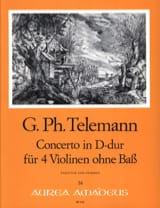 Georg Philipp Telemann - Konzert D-Dur Für 4 Violinen Twv 40:202 - Partition - di-arezzo.fr