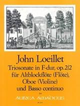 Jean-Baptiste (John) de Londres Loeillet - Sonata a Tre op. 2 n° 2 in F-Dur für Altblockflöte, Oboe und BC - Partition - di-arezzo.fr