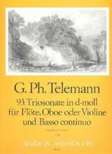 Triosonate Nr. 93 en Ré Mineur D-Moll TELEMANN laflutedepan.com