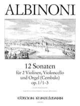 12 Sonates Volume 1 - Opus 1 N°1-3 ALBINONI Partition laflutedepan