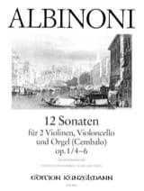 12 Sonates Vol.2 - Op.1 N°4-6 ALBINONI Partition laflutedepan