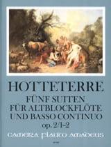 Jacques Martin Hotteterre - Cinq suites pour flûte alto et basse continue op. 2, Volume 1 : 1-2 - Partition - di-arezzo.fr