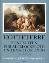 Jacques Martin Hotteterre - Cinq suites pour flûte alto et basse continue op. 2, Volume 1 : 3-5 - Partition - di-arezzo.fr