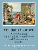William Corbett - Six sonatas op. 4 - Volume 1 : Sonatas 1-3 - Partition - di-arezzo.fr