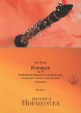 Romance, op. 85 - Clarinette et piano Max Bruch laflutedepan.com