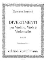 Gaetano Brunetti - Divertimenti n° 1 à 3 - Trio violon, alto et violoncelle - Partition - di-arezzo.fr