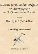 Carl Philipp Emanuel Bach - 6 Sonatas, Wq 92 - Clarinet, Bassoon and Keyboard - Sheet Music - di-arezzo.com