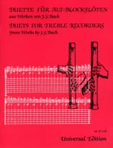 Johann Sebastian Bach - Duette - 2 Flûtes à Bec Alto - Partition - di-arezzo.fr