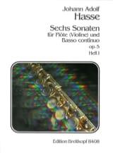 Johann Adolf Hasse - 6 Sonaten op. 5 - Heft 1 - Flöte Violine u. Bc - Partition - di-arezzo.fr
