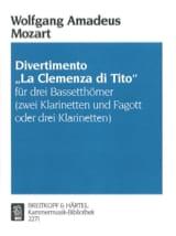 MOZART - Divertimento La Clemenza di Tito–3 Bassetthörner (2 Klar. Fag. / 3Klar.) - Partition - di-arezzo.fr