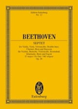 BEETHOVEN - Septuor En Mi B Maj., Op. 20 - Conducteur - Partition - di-arezzo.fr