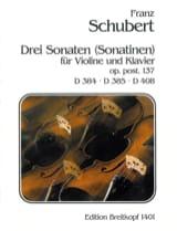 Drei Sonaten (Sonatinen) SCHUBERT Partition Violon - laflutedepan.com