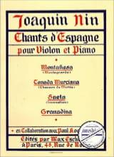 Chants d'espagne -Violon Joaquin Nin Partition laflutedepan.com