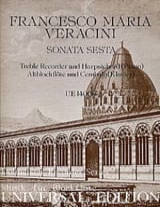 Francesco Maria Veracini - Sonata Sesta - Altblockflöte u. Cembalo Klavier) - Partition - di-arezzo.fr