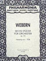 Anton Webern - 6 Stücke für Orchester op. 6b - Fassung 1928 - Partitur - Partition - di-arezzo.fr