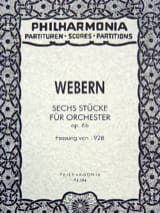 6 Stücke für Orchester op. 6b - Fassung 1928 - Partitur laflutedepan.com