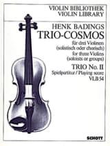 Trio Cosmos n° 2 Henk Badings Partition Violon - laflutedepan