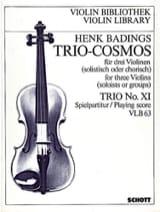 Trio-Cosmos n° 11 Henk Badings Partition Violon - laflutedepan