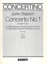 Concerto n° 1 G-Dur – Altblockflöte - John Baston - laflutedepan.com