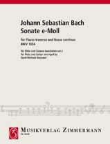 Johann Sebastian Bach - Sonate e-moll BWV 1034 – Flöte Gitarre - Partition - di-arezzo.fr