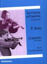 Friedrich Seitz - Concerto en Sol Mineur Opus 12 - Partition - di-arezzo.fr