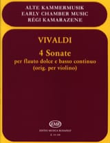 VIVALDI - 4 Sonatas - Flauto dolce e Bc - Sheet Music - di-arezzo.co.uk