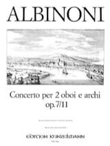 Tomaso Albinoni - Concerto per 2 oboi op. 7 n° 11 -2 Oboen Klavier - Partition - di-arezzo.fr