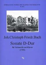 Sonate D-Dur Johann Christoph Friedrich Bach Partition laflutedepan