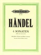 HAENDEL - 4 Sonaten - Blockflöte Violine u. Bc - Partition - di-arezzo.fr