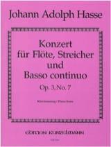 Johann Adolf Hasse - Konzert G-Dur op. 3 n° 7 – Flöte Klavier - Partition - di-arezzo.fr