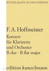 Konzert B-Dur Klarinette - Partitur HOFFMEISTER Partition laflutedepan