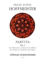 Franz Anton Hoffmeister - Partita N° 1 – 2 Klarinetten 2 Fagotte 2 Hörner - Partition - di-arezzo.fr