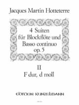 Jacques Martin Hotteterre - 4 Suiten op. 5 - Bd. 2 (n° 3-4) – Blockflöte u. Bc - Partition - di-arezzo.fr