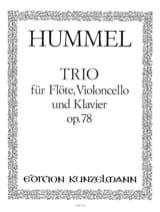 Johann Nepomuk Hummel - Trio op. 78 –Flöte Cello Klavier - Partition - di-arezzo.fr