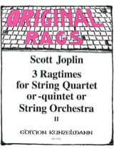 Scott Joplin - 3 Ragtimes String Quartet or Quintet, Volume 2 - Partition - di-arezzo.fr