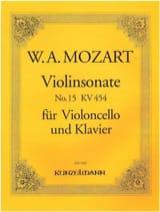 Sonate n°15 - KV 454 MOZART Partition Violoncelle - laflutedepan.com