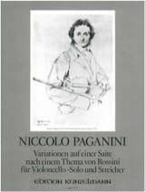 Niccolò Paganini - Variationen auf einer Saite –Cello u. Streicher - Partition - di-arezzo.fr