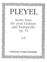 Ignaz Pleyel - 6 Trios op. 51 - Bd. 2 (: Nr. 4-6) –2 Violinen u. Violoncello - Stimmen - Partition - di-arezzo.fr