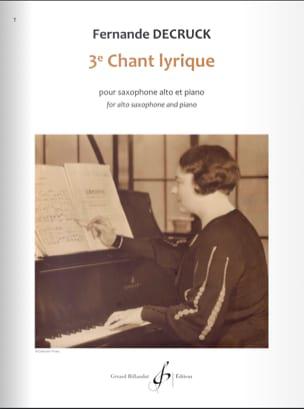 Fernande Decruck - 3e Chant lyrique - Partition - di-arezzo.fr