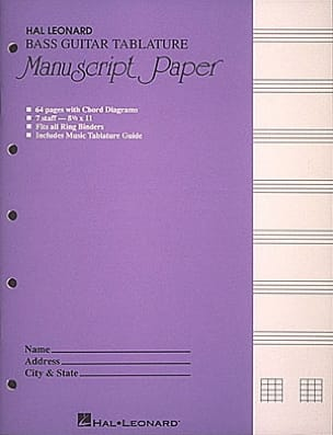 Cahier de Musique - Bass Guitar Tablature Manuscript Paper - Stationery - di-arezzo.co.uk