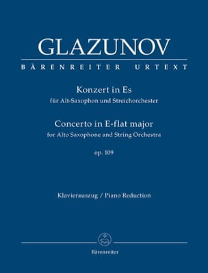 Alexander Glazounov - Concerto in E-Flat Major Op.109 - Partition - di-arezzo.fr