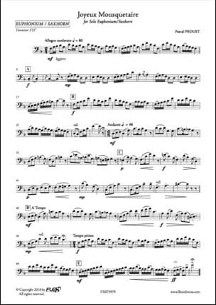 Joyeux Mousquetaire Pascal Proust Partition Tuba - laflutedepan