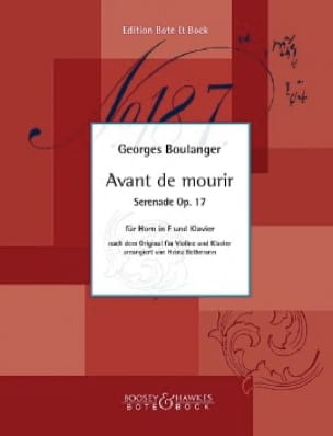 Georges Boulanger - Before dying, Serenade Opus 17 - Sheet Music - di-arezzo.com